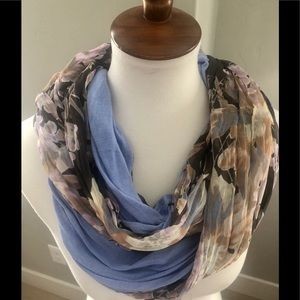 Floral periwinkle infinity scarf